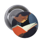 Vintage Child Reading a Book, Back to School Time! Badges