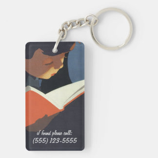 Vintage Child Reading a Book, Back to School Time! Acrylic Key Chains