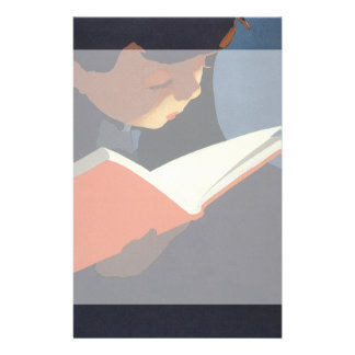 Vintage Child Reading a Book, Back to School Time! Custom Stationery