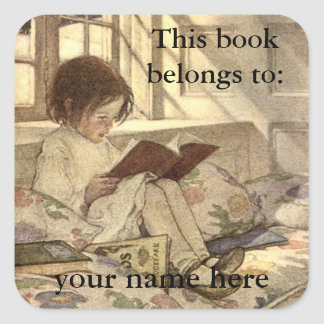 Vintage Child Reading a Book Bookplate Square Sticker