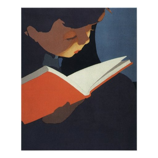 Vintage Child Reading a Book From the Library