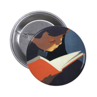 Vintage Child Reading a Book From the Library 6 Cm Round Badge