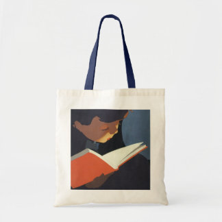 Vintage Child Reading a Book From the Library Budget Tote Bag