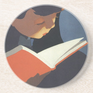 Vintage Child Reading a Book From the Library Coaster