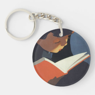 Vintage Child Reading a Book From the Library Double-Sided Round Acrylic Key Ring