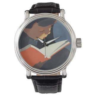 Vintage Child Reading a Book From the Library Wrist Watch
