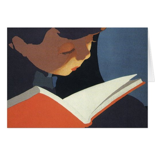 Vintage Child Reading a Book From the Library Greeting Card