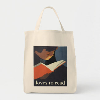 Vintage Child Reading a Book From the Library Grocery Tote Bag