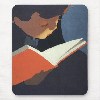 Vintage Child Reading a Book From the Library Mouse Pad