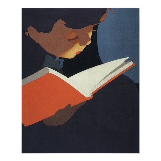Vintage Child Reading a Book From the Library Poster