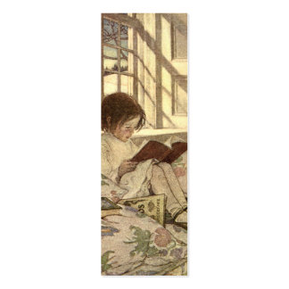 Vintage Child Reading a Book, Jessie Willcox Smith Business Card Templates
