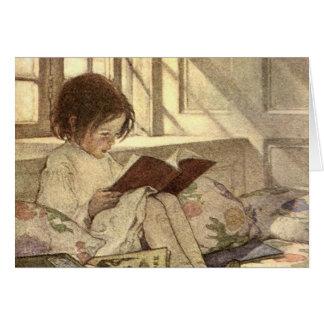 Vintage Child Reading a Book, Jessie Willcox Smith Card