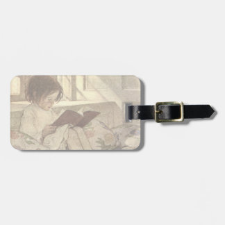 Vintage Child Reading a Book, Jessie Willcox Smith Luggage Tag