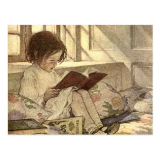 Vintage Child Reading a Book, Jessie Willcox Smith Postcard