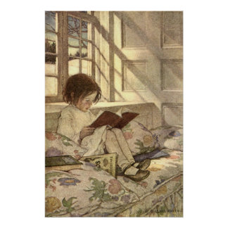Vintage Child Reading a Book, Jessie Willcox Smith Poster