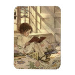 Vintage Child Reading a Book, Jessie Willcox Smith Rectangular Magnet