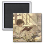 Vintage Child Reading a Book, Jessie Willcox Smith Square Magnet