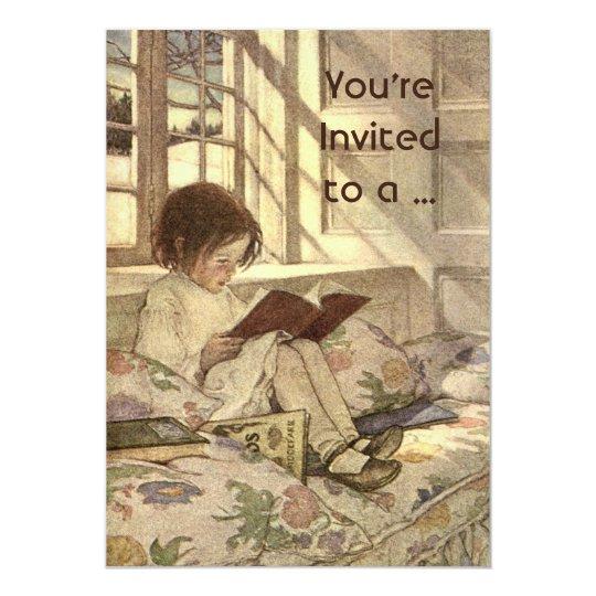Vintage Child Reading a Book School Graduation 13 Cm X 18 Cm Invitation Card