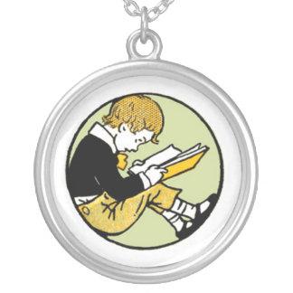 Vintage Child Reading Pendant