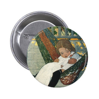 Vintage Child with a Doll by Jessie Willcox Smith 6 Cm Round Badge