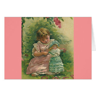 Vintage Child with Baby Doll Notecard