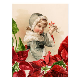 Vintage Child With Berries and Pointsettias Postcard