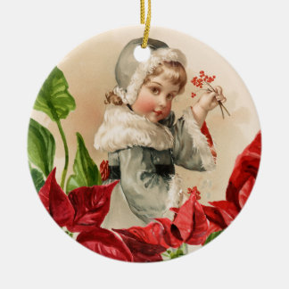 Vintage Child With Berries and Pointsettias Round Ceramic Decoration