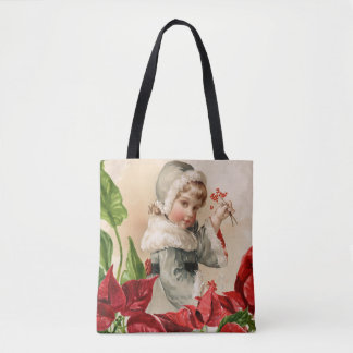 Vintage Child With Berries and Pointsettias Tote Bag