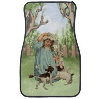 Vintage Child with Terrier Dogs Floor Mat