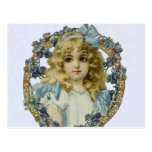 Vintage child with Victorian Blue Bow and Flowers