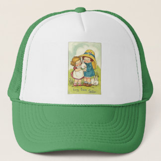 Vintage Children and Rabbits Easter Greeting Trucker Hat