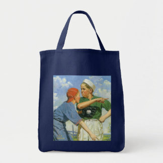 Vintage Children and Sports, Boys Playing Baseball Grocery Tote Bag