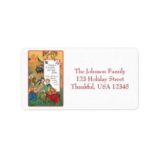 Vintage Children and Thanksgiving Greeting Address Label