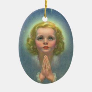 Vintage Children, Angelic Girl with Halo Praying Ceramic Oval Decoration