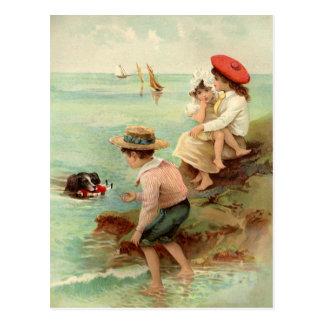 Vintage Children At The Beach Postcard