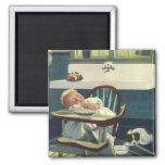 Vintage Children, Baby Sleeping Highchair Kitchen Magnets