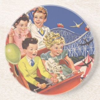 Vintage Children Balloons Dog Roller Coaster Ride