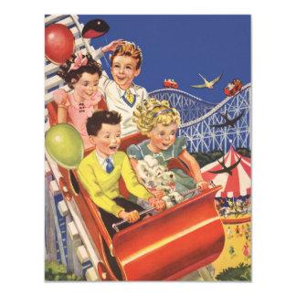 Vintage Children Balloons Dog Roller Coaster Ride 11 Cm X 14 Cm Invitation Card