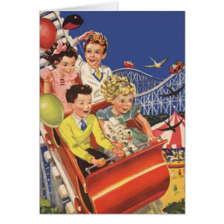 Vintage Children Balloons Dog Roller Coaster Ride Greeting Card