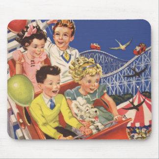 Vintage Children Balloons Dog Roller Coaster Ride Mouse Mat