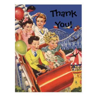 Vintage Children Balloons Dog Roller Coaster Ride Postcard