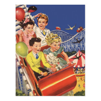 Vintage Children Balloons Dog Roller Coaster Ride Postcard