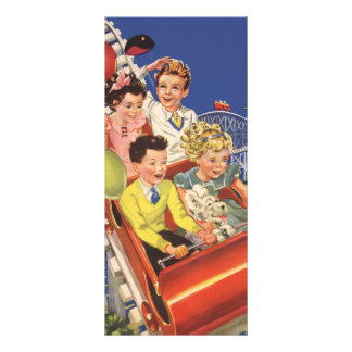 Vintage Children Balloons Dog Roller Coaster Ride Rack Card