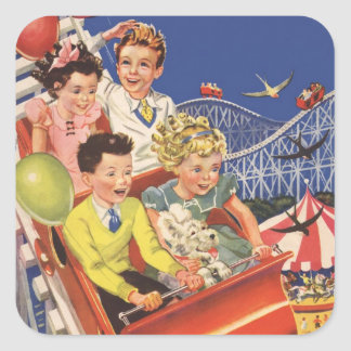 Vintage Children Balloons Dog Roller Coaster Ride Square Sticker