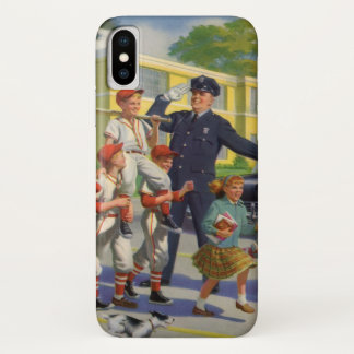Vintage Children, Baseball Players Crossing Guard iPhone X Case