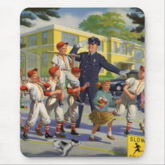Vintage Children, Baseball Players Crossing Guard Mouse Pad