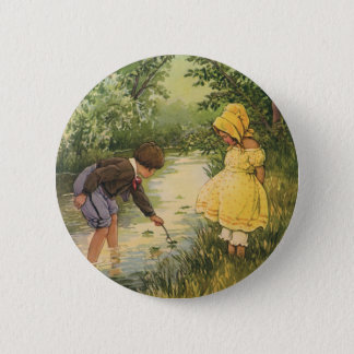 Vintage Children, Boy and Girl Playing by Creek 6 Cm Round Badge
