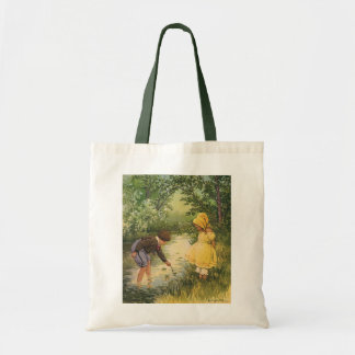 Vintage Children, Boy and Girl Playing by Creek Budget Tote Bag
