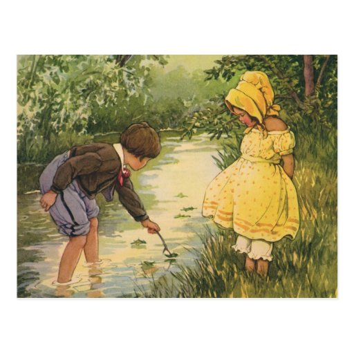 Vintage Children, Boy and Girl Playing by Creek Post Card