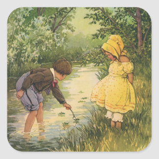 Vintage Children, Boy and Girl Playing by Creek Square Sticker